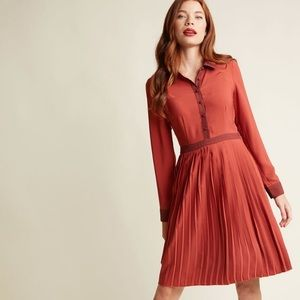 ModCloth Just My Typist Long Sleeve Dress XS Red